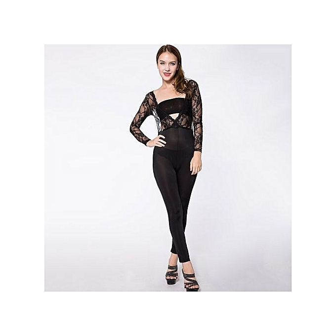 ... Sexy Plunging Neck Long Sleeve See-Through Backless Women s Jumpsuit -  BLACK a84d19f85