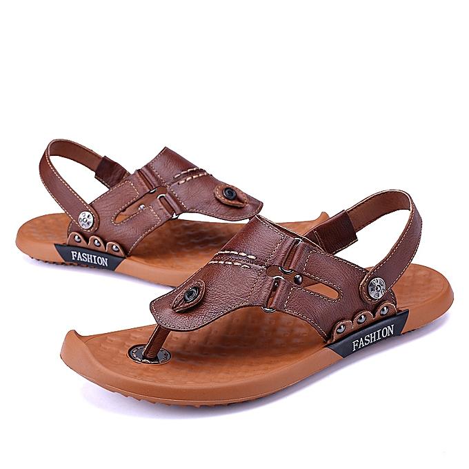 1575ca134e9 Generic Men s Beach Flip-Flops Leather Sandals Casual Shoes   Best ...