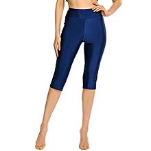 Women Solid Stretch Tights Skinny Capri Legging For Sport Swim ( Dark Blue )