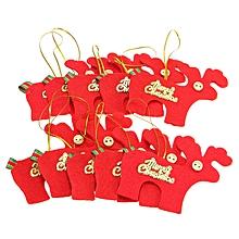 10pcs Christmas Tree Decorations Elk Pendant Festive Supplies-red
