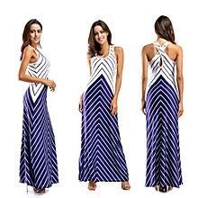 Nigerian Sleeveless Strap Maxi Dresses Evening Gown-Blue