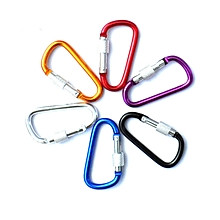 Aluminum Carabiner D Shape Buckle Pack, Keychain Clip, Spring Snap Key Chain Clip Hook Screw Gate Buckle, ,Color At Random,