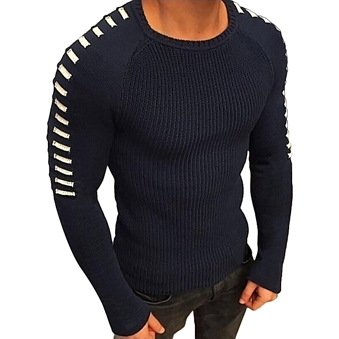 aa8282161d1275 ... Africanmall store Men Winter Long Sleeve Solid Knitted Sweater Pullover  Tops Blouse T Shirt-Blue ...