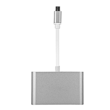 USB 3.1 Type-C to VGA Multiport Hub 5Gbps Speed Charger Adapter Converter Silver