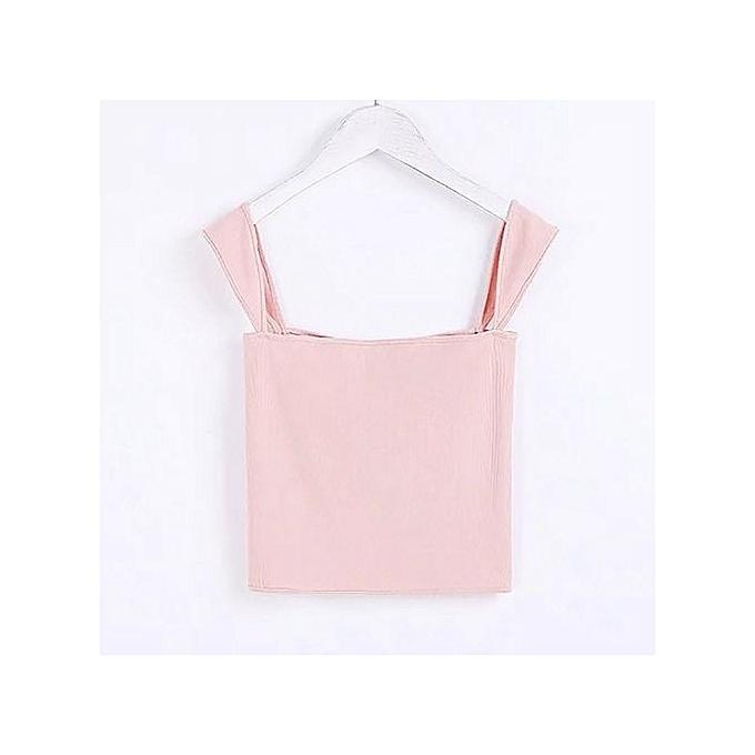 5b3e5d78637d79 Hiaojbk Store Women Ladies Fashion Solid Backless Sleeveless Short Length  Crops Top Vest Tank-Pink ...