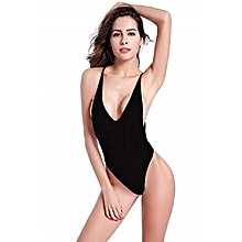 c221d33dbd706 Women's High Cut One Piece Backless Thong Brazilian Bikini Swimsuits