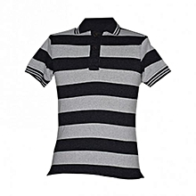 Grey Stripped Men's Polo Shirts