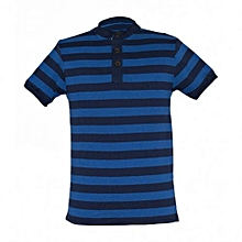 Navy / Blue Mens Striped Mandarin Collar T-shirts