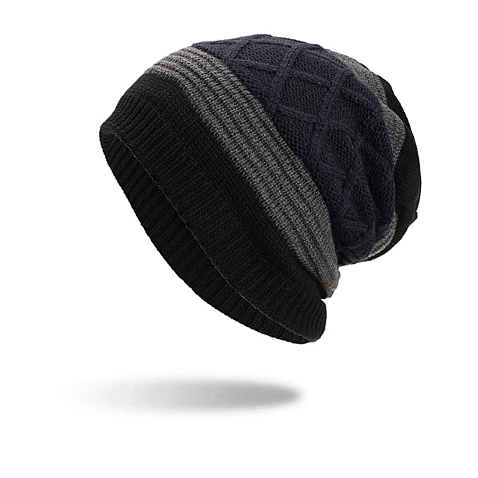 66c077eda9f ... Gorro Skull Caps New · Lesov Knitted Beanie Hat Men Warm Plush Velvet  Winter Hats For Men Stripe Hip Hop Slouchy