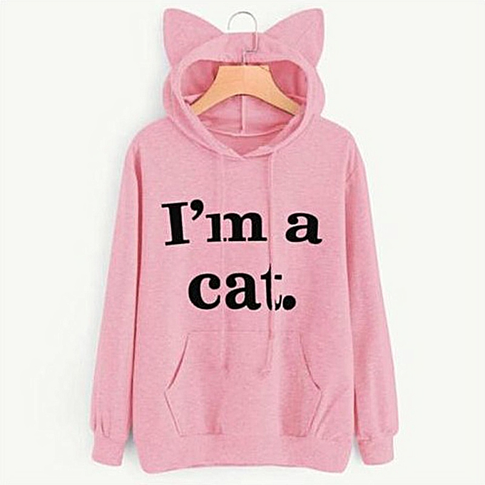 New Fashion Women Hoodie Sweatshirts Cat Ear Letter Print Long Sleeve  Casual Loose Pullover Hooded Tops 6ee70d4d9a