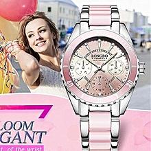 80303 Brand Fashion Watch Women Luxury Imitation Ceramic and Alloy Bracelet Waterproof Quartz Watch Ladies Elegant Watches - Pink