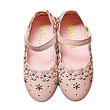 bluerdream-Baby Fashion Sneaker Child Girls Floral Casual Single Leather Pricness Shoes- Pink