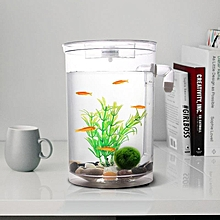 Self Cleaning Plastic Fish Tank Desktop Aquarium Betta Fishbowl For Office Home Decor Specification:round Fish Tank