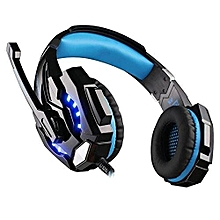Headphone Gaming, G9000 Gaming Headphone With Mic LED Light For Laptop Tablet(Black Blue)