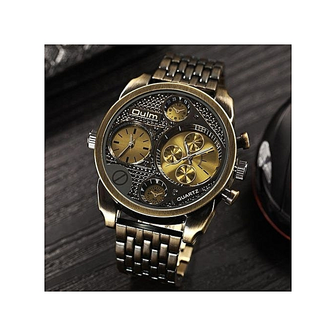 3ea908a7573 Oulm Luxury Brand Men Full Steel Watch Golden Big Size Antique Male Casual  Watches Military Wristwatch