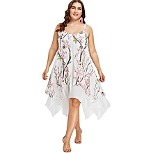 Plus Size Cami Flower Printed Dress-PINK