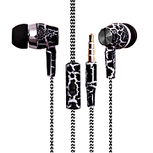 Crack Earphone Cloth Rope Earpieces Stereo Bass MP3 Music Headset With Micrphone For Cellphone MP3 MP4 Black