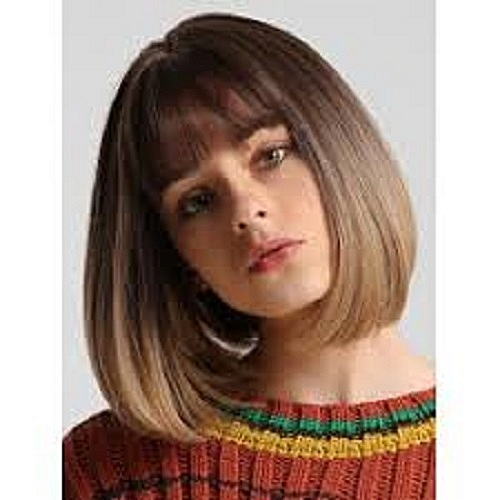 Short Brown Hair Wigs Straight with Flat Bangs Daily Wig for Women