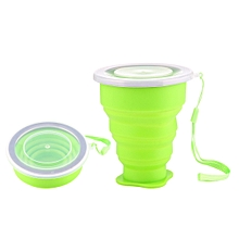 2 PCS 240ml Silicone Telescopic Cup Portable Folding Travel Cup with Lid, Random Color Delivery