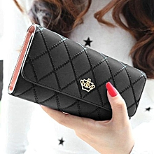 Fohting Lady Women Clutch Long Purse Leather Wallet Card Holder Handbag Bags BK -Black