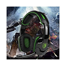 SA-930 3.5mm Gaming Headsets with Microphone Noise Cancellation Music Headphones Black-green for PS4 New Xbox One Laptop Tablet PC Mobile Phones Black &Green