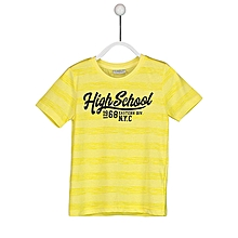 Yellow Fashionable Striped Regular Crew Neck T-Shirt