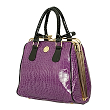 Purple Crocodile Patterened PU Leather Ladies  Handbag.