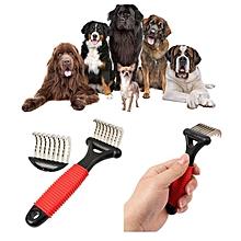 Pet Fur Shedding Remove Grooming Rake Comb Brush Dog Cat Long Short Thick Hair-White