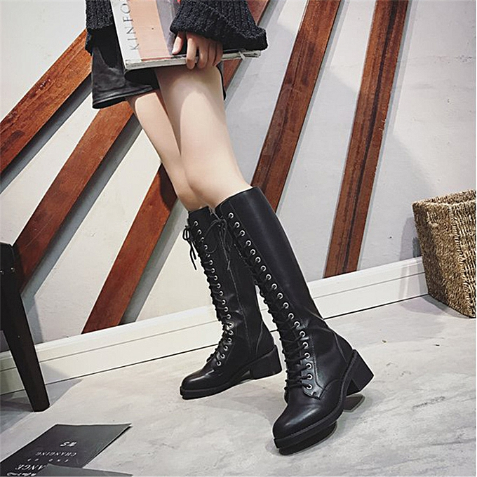 super specials 2019 professional 2019 best sell UK Women Knee High Lace Up Zip Booties Punk Army Military Low Heel Leather  Shoes