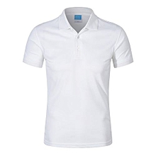 Pure Color Fashion Casual Men's Summer B Short Sleeves Polo Shirts-White