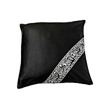 PU Cushion with Silver Damask Strip - Black