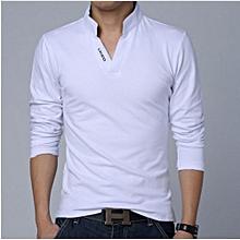 Good Quality Plus Size 5XL Autumn New Fashion Brand Long Sleeve T Shirt Men Slim Fit Casual Cotton T-Shirt - White