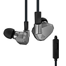 3.5mm Wired In Ear Headphones w/ Microphone 2DD+2BA Hybrid Drivers HiFi Music Earphones Sports Headset with Replacement Earphone Cable Noise Canceling Earbuds Grey