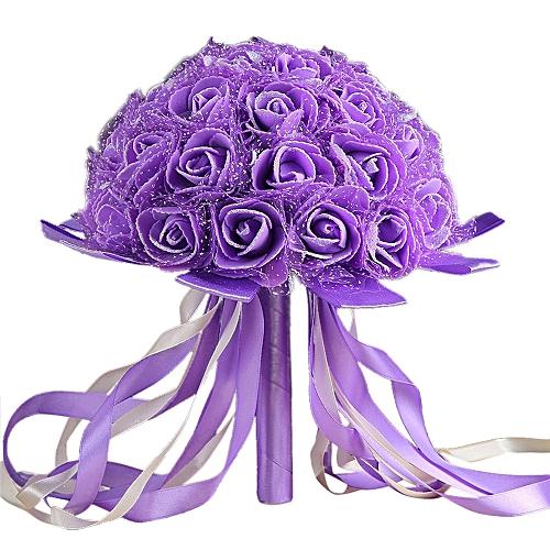 Buy neworldline crystal ribbon roses bridesmaid wedding bouquet crystal ribbon roses bridesmaid wedding bouquet bridal artificial silk flowers purple mightylinksfo