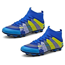 UL High Ankle Soccer Shoes Wear-resisting Sports For Football Trainers Blue