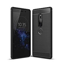 Brushed Texture Carbon Fiber Shockproof TPU Case for Sony Xperia XZ2 Premium(Black)
