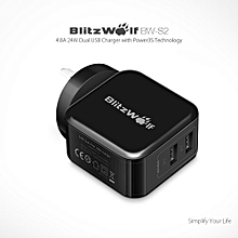 BlitzWolf BW-S2 AU 4.8A 24W Dual USB Charger With Power3S Tech for iphone 8 8 Plus X Xiaomi