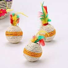 Large Sisal Feather Toy Pet Supplies Sisal Ball  Cat Scratch Board Colorful