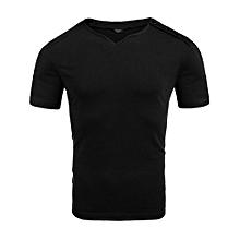 Men's Notch Neck Button Short Sleeve Summer Casual T-Shirt ( Black )
