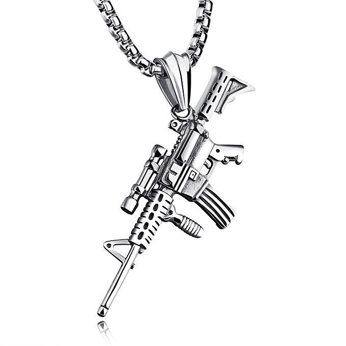 The titanium steel personality machine gun necklace hip-hop
