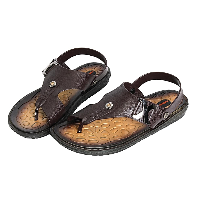 2ea2a08eb1a Mens Summer Leather Sandals Slippers Casual Beach Flip Flops Flat With  Sandals Brown-EU