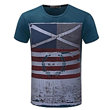 Best Sale Men's 2018 Summer Top Cotton Printing Casual Fashion T Shirts-Blue