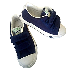 Navy Blue Kids Canvas Sneaker Shoes with a Rubber Sole - Navy Blue