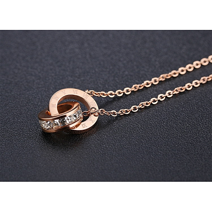 460af77dc3796 Fashionable delicate diamond-mounted Pendant Roman digital necklace with  rose-gold-plated titanium steel clavicle chain double-link-1187-Necklace