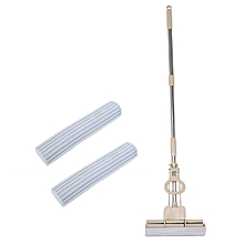 PVA Sponge Mop Scrub Roller with Telescoping Stainless Steel Handle - Light Brown