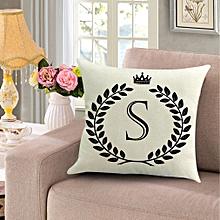 Crown Letter Alphabet Pattern Cotton Linen Cushion Cover 45*45cm Pillowcase
