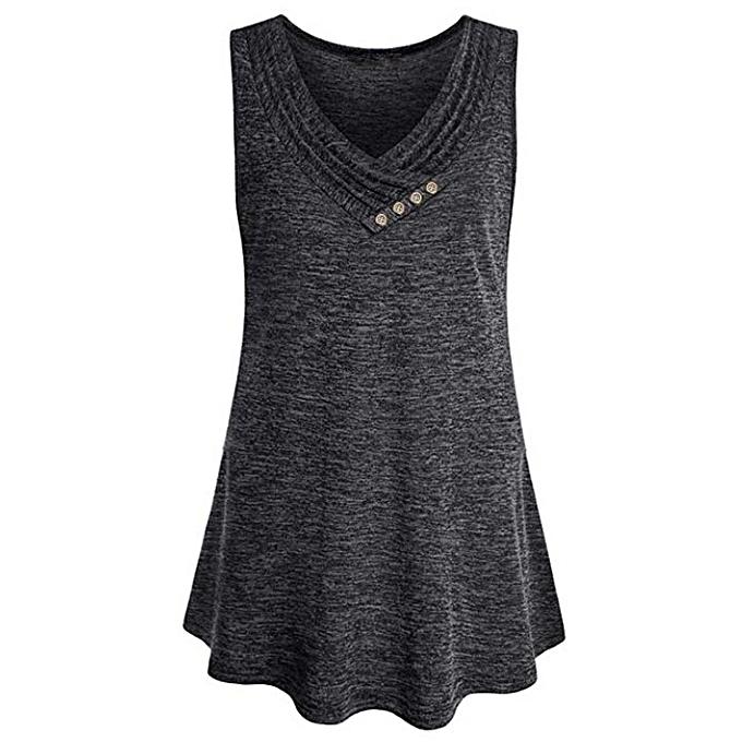 baa4ab718e5 Womens Plus Size Sleeveless V Neck Loose Button Trim Top Tunic Blouse Shirt  -Dark Gray