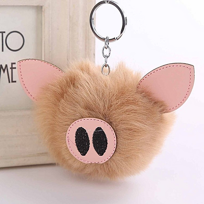 ... 10CM Cute Pig Keychain Pendant Women Key Ring Holder Pompoms Key Chains  Khaki ... 78d2c8d50