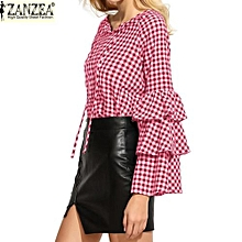 ZANZEA Women's Check Plaid Shirt Layered Ruffle Bell Sleeve Tee Tops Round Neck Casual Blouse (Red)