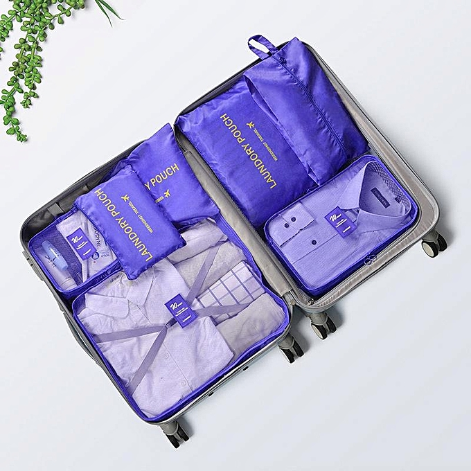 7Pcs Travel Storage Bag Set Luggage Suitcase Finishing Package Waterproof Inner Clothing Storage Bag # Purple